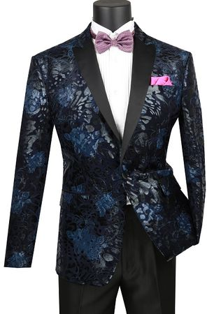 Mens Navy Slim Fit Velvet Floral Pattern Tuxedo Jacket NBS-12 - click to enlarge