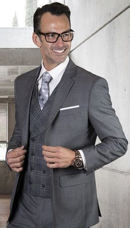 Statement Mens Wool Gray  Modern Fit 3 Pc Suit STZV-771 - click to enlarge
