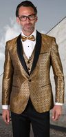 Statement Mens Gold Tuxedo Tapestry Pattern Modern Fit Bellagio-21