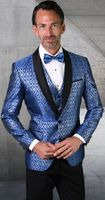 Statement Mens Royal Blue Tuxedo Tapestry Pattern Modern Fit Bellagio-21