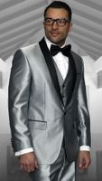 Statement Mens Shiny Silver Tuxedo Modern Fit Red Carpet Style Flat Front Pants Enzo-7