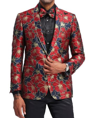 Men's Red Big Flower Slim Prom Jacket Matching Bow Tie Tazio MJ334-1
