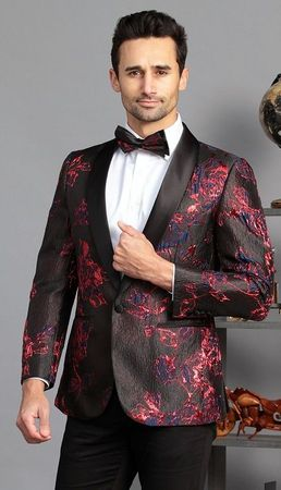 Manzini Men's Black Red Floral Print Fitted Tuxedo Blazer MZS-324 Bow
