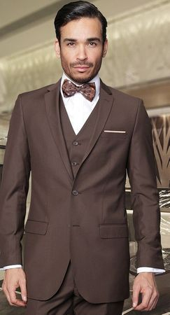 Wool Statement Men's Slim Fit 3 Piece Brown Skinny Fitted Suit Lorenzo