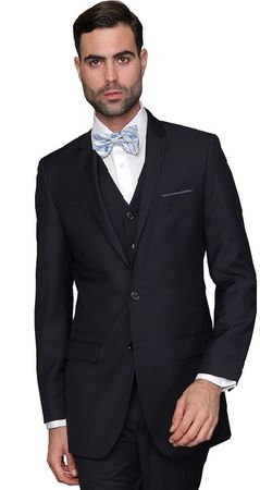 Wool Slim Fit Suits Men's 3 Piece Navy Blue Vested Statement Lorenzo
