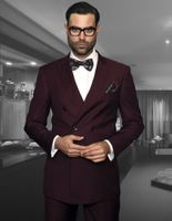 Statement Mens Solid Burgundy Wool Double Breasted Suits TZD-100