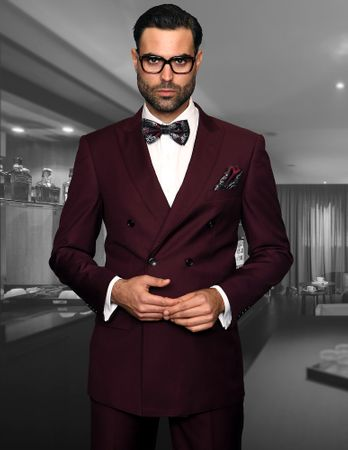 Statement Mens Solid Burgundy Wool Double Breasted Suit TZD-100
