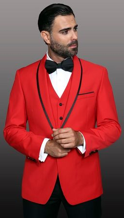 Statement Red Young Mens Slim Fit Wool Tuxedo Genova
