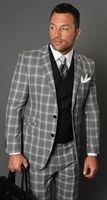 Statement Suit Men's Wool Gray Black Fitted Plaid Solid Vest 3 Piece Carlo