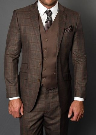 Statement Men's Coco Brown Square Pattern Fitted 3 Piece Wool Suit Dozza Size 48L