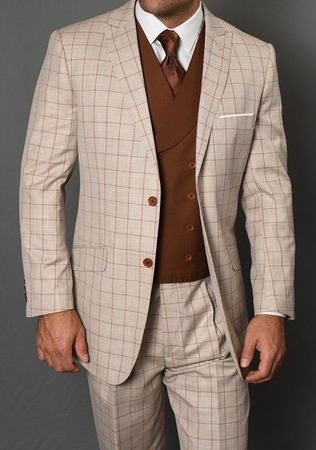 Statement Men's 3 Piece Wool Tan Square Pattern Suit Beverly IS
