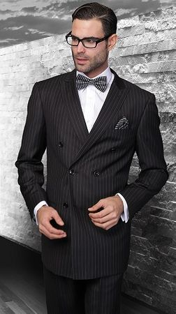 Statement Mens Double Breasted Solid Black Wool Suits TZD-300 Size 48 Reg Final Sale - click to enlarge