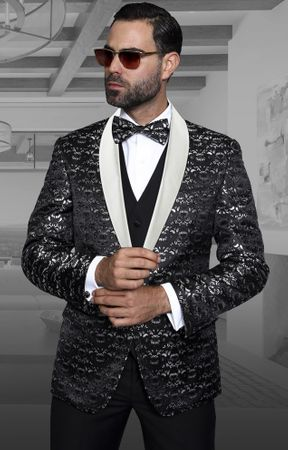 Statement Modern Fit Black Fancy Pattern 3 Piece Tuxedo Palazio  - click to enlarge
