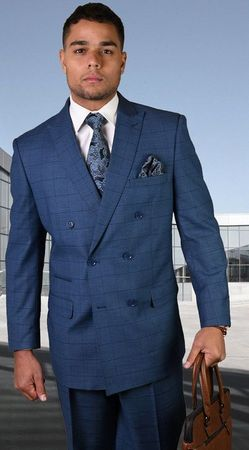 Mens Statement Fine Wool Indigo Windowpane Double Breasted Suits TZD-401