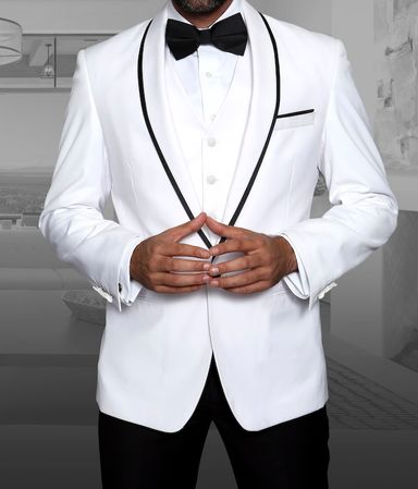 Statement White 1920s Young Mens Modern Fit Wool Tuxedo Genova