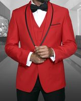 Statement Red 1920s Young Mens Modern Fit Wool Tuxedo Genova