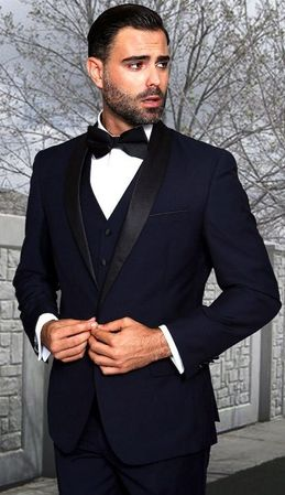 Statement Mens 3 Piece Navy Shawl Collar Modern Fit Tuxedo TUX-SH