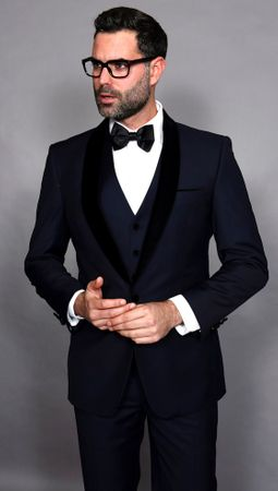 Statement Mens Navy Modern Fit Tuxedo Encore-V