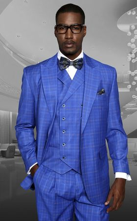 Statement Sapphire Small Plaid Wide Leg Wool Suit Tuscany IS