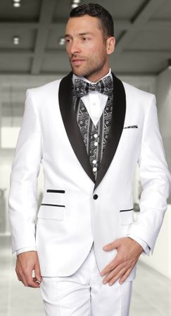 Statement  White Modern Fit 3 Piece Evening Suits Capri - click to enlarge