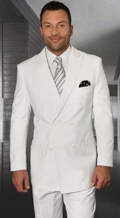 Statement Mens Double Breasted White Wool Suits TZD-100 Size 48 Long Final Sale