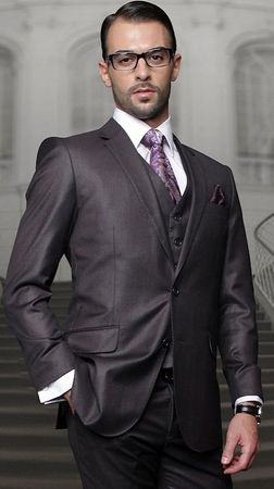 Statement Pure Wool Solid Heather Charcoal 3 Piece Suit TZ-100