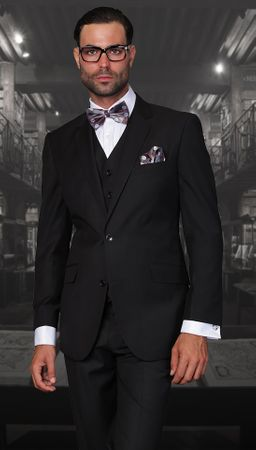 Statement Pure Wool Tailored Fit 3 Piece Suit Black STZV-100