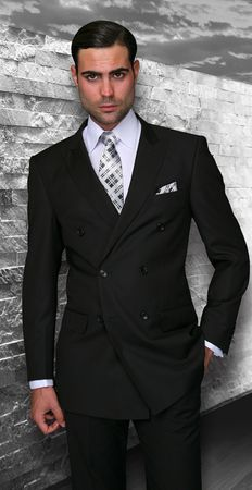 Mens Solid Black Italian Wool Double Breasted Suits Alberto Db-1 Size 44 Long & 46 Long Final Sale