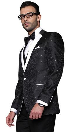 Mens Black Paisley Tuxedo Modern Fit Statement Bellagio Size 42 Long Final Sale