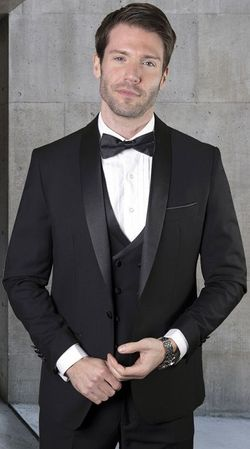 Statement Black Tailored Fit 3 Piece DB Vest Tuxedo MGM