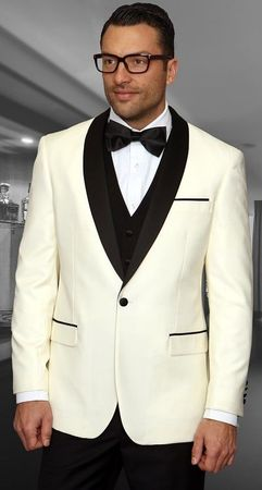 Statement Off White Modern Fit 3 Piece Shawl Collar Tuxedo Encore
