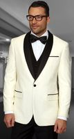 Statement Cream Modern Fit 3 Piece Shawl Collar Tuxedo Encore