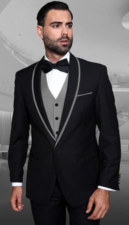 Men's Stylish Black and Grey Modern Fit Fashion Tux Statement Genova-2