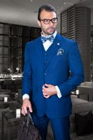 Statement Mens Wool Sapphire Blue 3 Piece Suit TZ-100