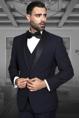 Statement Wool Tuxedo Mens Navy Blue 3 Piece TUX-SH