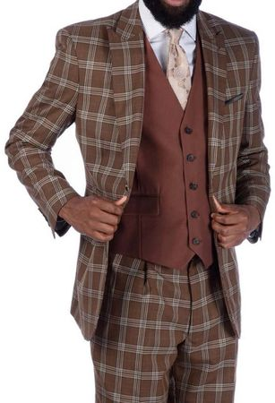 Steve Harvey 3 Piece Brown White Plaid Suit Brown Vest 219708