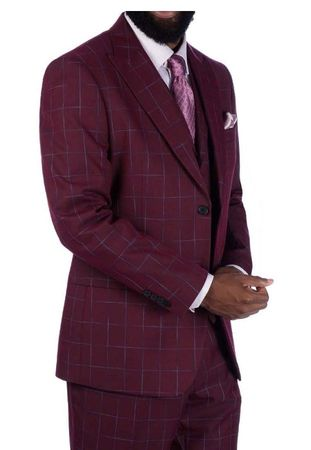Steve Harvey 3 Piece Burgundy Plaid Suit 219705