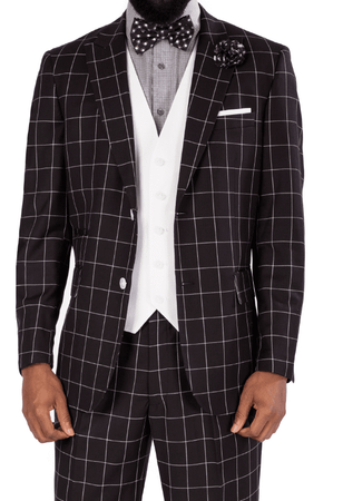 Steve Harvey 3 Piece Suit Black White Square Plaid 119730 OS