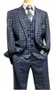 Steve Harvey 3 Piece Suit Blue Plaid Samson 7120