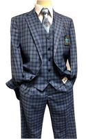 Steve Harvey 3 Piece Suit Blue Plaid Samson 7120 Size 40R
