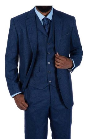 Steve Harvey 3 Piece Suit Blue Houndstooth 219701