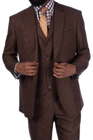 Steve Harvey 3 Piece Suit Brown Houndstooth 219702
