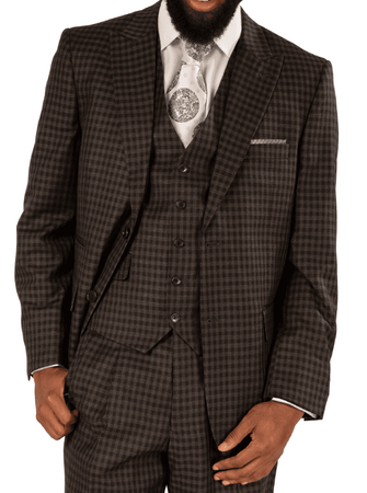Steve Harvey 3 Piece Suit Gray Black Gingham Plaid 119744 OS