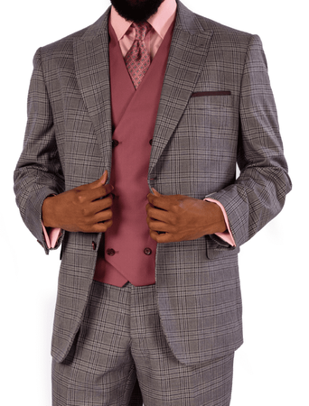 Steve Harvey 3 Piece Suit Gray Mauve Plaid 119724 OS