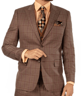 Steve Harvey 3 Piece Suit Light Brown Plaid 119738 OS