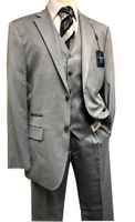 Steve Harvey 3 Piece Suit Light Gray Sharkskin Samson 7121