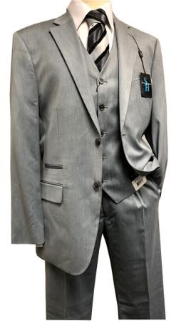 Steve Harvey 3 Piece Suit Light Gray Sharkskin Samson 7121 IS