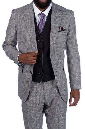 Steve Harvey 3 Piece Suit White Black Houndstooth 219700