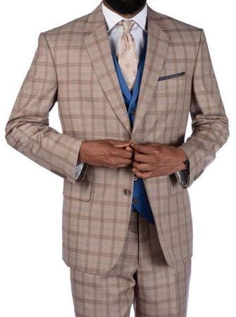 Steve Harvey 3 Piece Tan Plaid Suit Blue Vest 219707