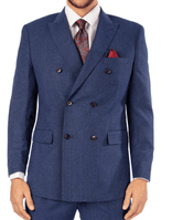 Steve Harvey Blue Fine Stripe Double Breasted Suit 119728 OS